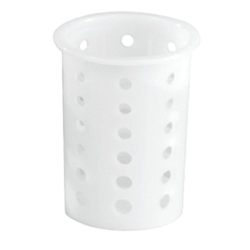 Vollrath Round Perforated White Plastic Flatware Cylinder - 3 3/4