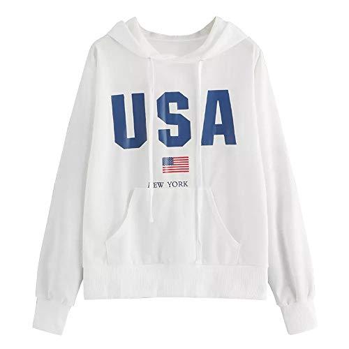 Women Sweatshirts Clearance Forthery USA American Flag Print Pullover Hoodies Tops(White, Medium)