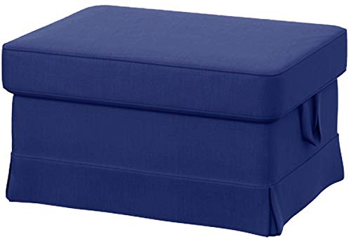 HomeTown Market Sofa Covers Custom Made for IKEA Ektorp Footstool Slipcovers (Polyester Flax Blue, Ektorp Ottoman) (Ikea Ottoman Covers)