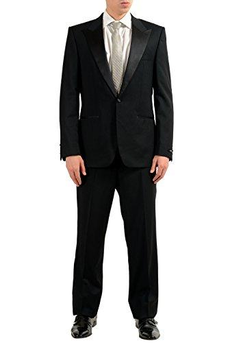 (Hugo Boss Caiden/GlamzUS Men's 100% Wool Black Tuxedo One Button Suit SZ US 44L IT 54L)
