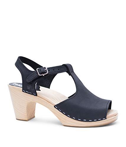 (Sandgrens Swedish High Rise Wooden Heel Clog Sandals for Women   Nice Black, EU 38)