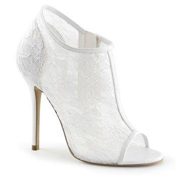Lace Platforms Pleaser - Pleaser Women's Amu56/ivlc-ms Ankle Bootie, Ivory Lace-Mesh, 15 M US