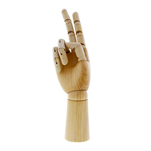US Art Supply Wood Artist Drawing Manikin Articulated Mannequin with Wooden Flexible Fingers - Perfect for drawing the human hand (12'' Right Hand) by US Art Supply