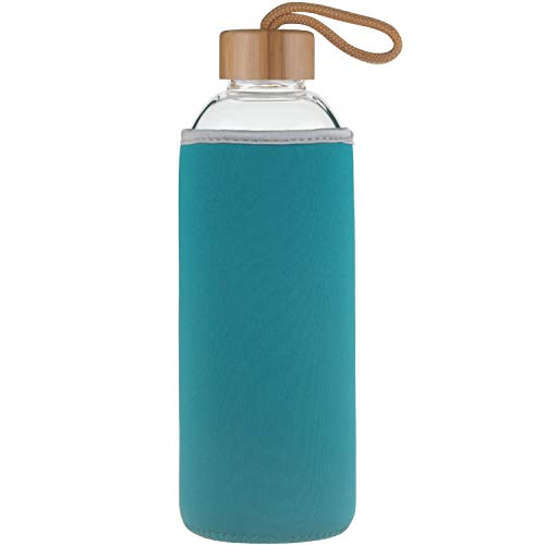 - Ferexer Sports Borosilicate Glass Water Bottle with Bamboo Lid with Neoprene Sleeve 18 oz Blue