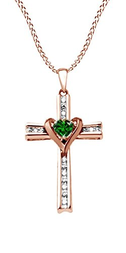 Jewel Zone US Mothers Day Jewelry Gifts Simulated Green Emerald & Natural Diamond Cross & Heart Two Tone Pendant Necklace in Sterling Silver