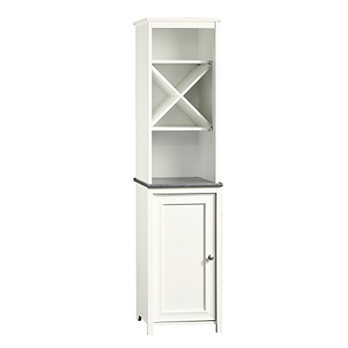 "Sauder 414036 Caraway Linen Tower, L: 14.72"" x W: 15.51"" x H: 60.59"", Soft White finish"