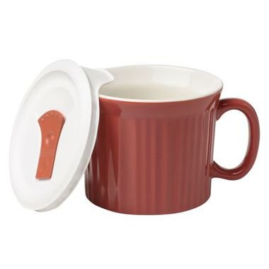CorningWare French White 20 Ounce 591 ML Mug with Vented Plastic CoverRed -