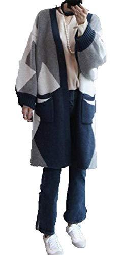 Baggy Baggy Baggy Pullover Anteriori Tasche Autunno Giaccone Giovane Elasticità Manica Manica Manica Maglieria Donna Pattern Lunga di Lunga Cardigan Stampate Confortevole Women qualità Alta Blau Giubotto qxFHnCwPTn