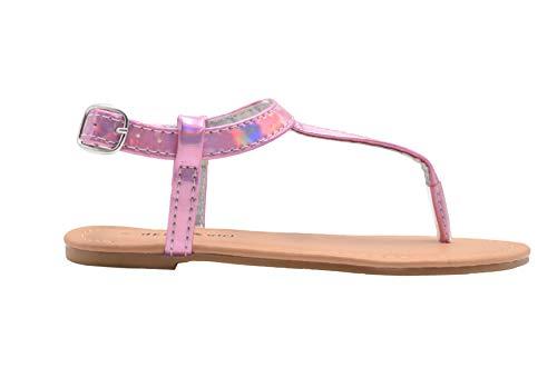 - dELiAs Girls Fashion Sandals 12 M US Little Kid Holographic Slingback T Strap Flats Pink