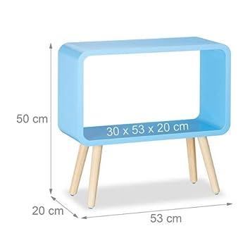 Legno MDF HxLxP: 50 x 53 x 20 cm Relaxdays 10021929/_45 Tavolino da Salotto e Comodino Basso Moderno Blu