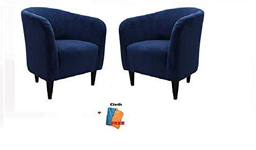 Microfiber Accent Chair - Mainstays Microfiber Tub Accent Chair, 27.50 x 30.50 x 32.00, Navy Blu, Set of 2 + Free Cleaning Cloth