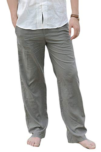 Lino Elastica Giovane Da Vita Spiaggia In Unita Grüne Saoye Pantalone Uomo Pantaloni Tinta Fashion Tasche Allentata Leggera Con Dritti YwpfHnzqx