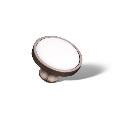 (RK International RKI R.K. International CK 515 PW Porcelain Knob, Satin Nickel (Pewter) and White, Pewter& White)