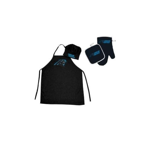 (Pro Specialties Group NFL Carolina Panthers Team Logo Barbeque Apron, Chef's Hat and Pot Holder Deluxe Set )
