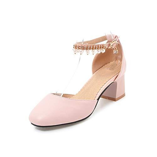 ZHZNVX Zapatos de Mujer PU (Poliuretano) Primavera y Verano Bomba básica Tacones Chunky Heel Square Toe Perla de imitación Negro/Azul / Rosa Pink