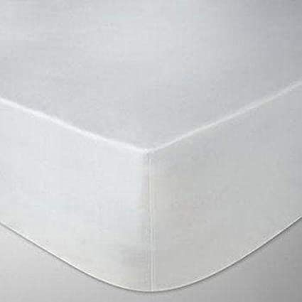 Linen Zone Sábana Bajera Ajustable de algodón Egipcio de 400 Hilos, Calidad de Hotel (Blanco, Doble)