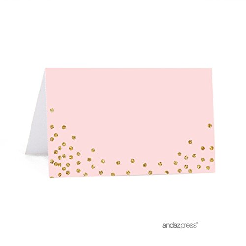 Andaz Press Blush Pink Gold Glitter Girl's 1st Birthday Party Collection, Printable Table Tent Place Cards, 20-Pack, For Dessert Table Candy Buffet (Birthday Girl Printable)