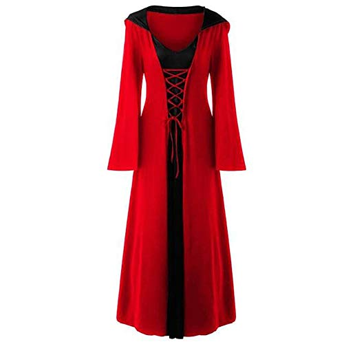LOKODO Women's Plus Size Halloween Hooded Lace Up Patchwork Long Sleeve Maxi Dress Witch Costume Red M