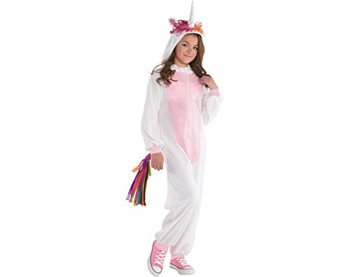 Amscan Unicorn Zipster Halloween Costume for Girls, Large, with Attached Hood and Tail
