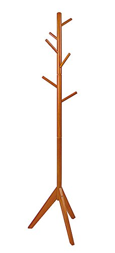 YBYT Solid Wooden Coat Rack with 6 hooks (Light Teak)