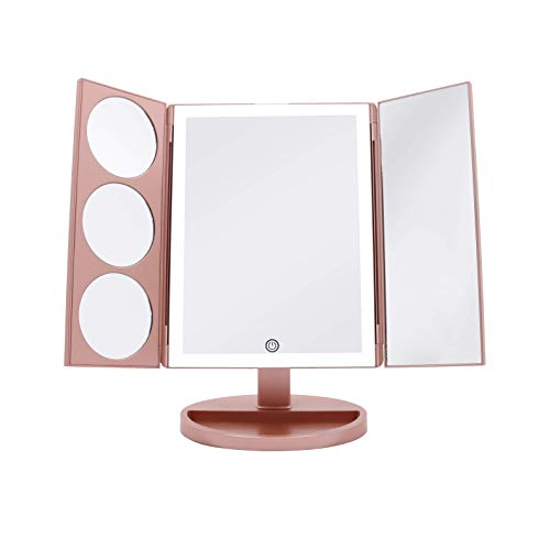 [X-Large Model] Milzie Makeup Vanity Mirror with 44 Natural White LED Lights, 3x/5x/10x Magnification Lighted Makeup Mirror, Extra Large Unique Tri-Fold Design, Countertop Cosmetic Mirror Rose Gold