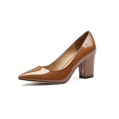 MANRINO Princess Medium Block Heel Patent Leather Upper Handmade Luxury Dress Pump Shoes for Women and Girls (US 9.5, Brown)