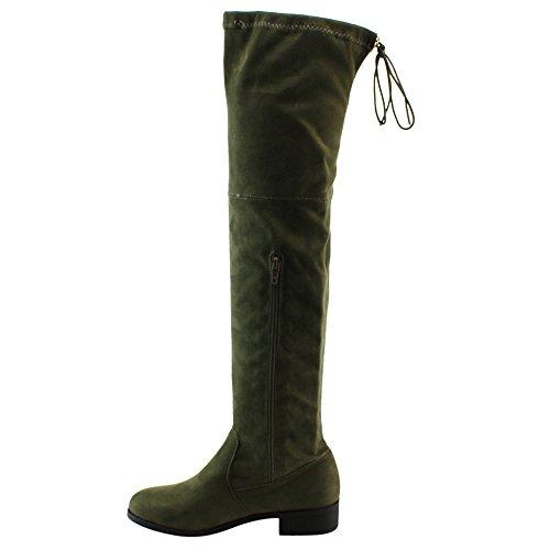 BESTON FD97 Damen Stretchy Overknee Block Ferse Kleid Stiefel halbe Größe klein Olive