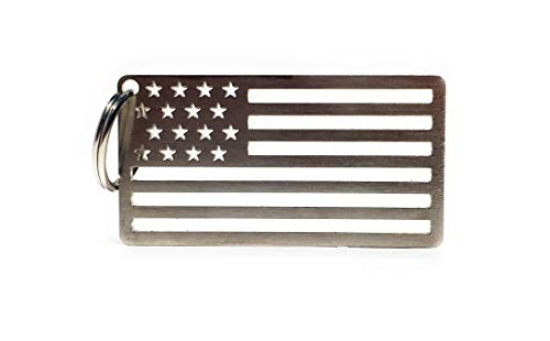 Arotags American Flag Key Chain | Made in U.S.A. from 304 Grade Stainless Steel