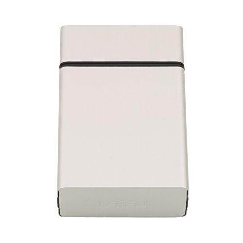 HENGSONG Leichte Aluminiumlegierung Zigarettenetui Zigaretten Zigarre Kasten Taschen Behälter Speicher Halter (Schwarz) Silber pj6xQUlcZ