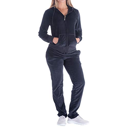 Velour Activewear - Evrimas Women's 2 Piece Outfits Velvet Zip Hoodie Sweatshirt & Sweatpants Sweatsuits and Velour Tracksuit Sets Jogging Suit (Large, Black)
