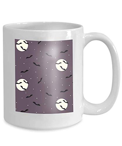 mug coffee tea cup halloween bats night sky creepy scene flying moon stars design Kawaii 110z