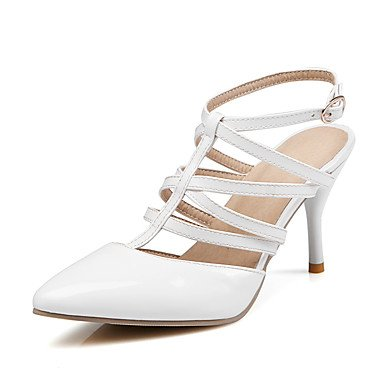 YFF Women's Sandals Summer Office Fall Slingback PU Office Summer & Career Party & Evening Dress Stiletto Heel Buckle,White,... B071JF2N9M Parent b62136