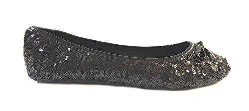 Sequin Flat Shoe (Shoes8teen Womens Sequin Ballet Flat (Small 5/6, 2001B Black))