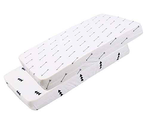 Pack n Play Sheet Fitted Playard Mattress Sheet Set 2 Pack 100% Muslin Jersey Cotton Ultra Soft Stretchy Portable Mini Crib Sheets for Baby Girl Boy Arrows Print White Fits Graco & Others by Knlpruhk ()