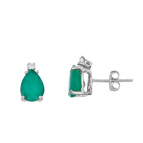 FB Jewels Solid 14k White Gold Studs Genuine Green Birthstone Pear Shape Emerald And Diamond Earrings (0.7 Cttw.) ()