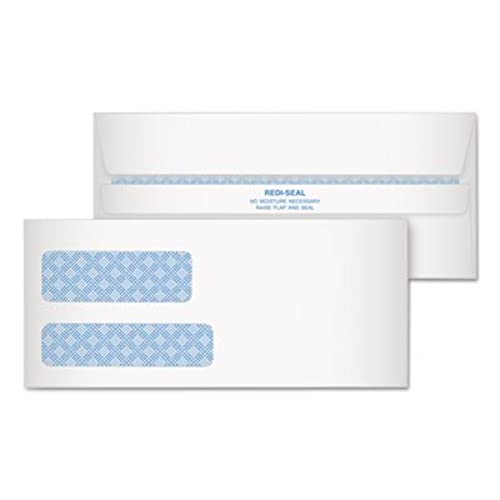 New ** Redi-Seal Envelope, Security, #9, Double Window, Contemporary, White, 500/Box **