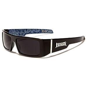 Locs Mens Hardcore Gafas De Sol Fashion Wrap Around Sunglasses with Bandana Print Inside - Free Microfiber Bag - Several Colors Available! (Black - Blue Inside)