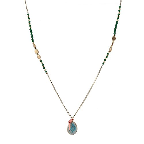 tom+alice Women's Long Gold Chain Necklace Natural Turquoise Teardrop Pendant for Women with Green Crystal Square Metal Bead Genuine (Green Beads Gold Necklace)