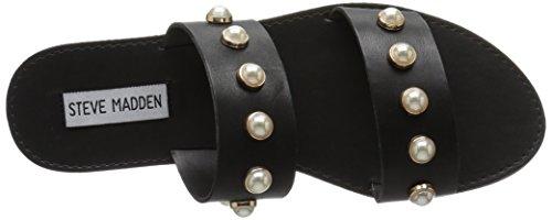 Steve Madden Womens Jole Flat Sandal Black Leather