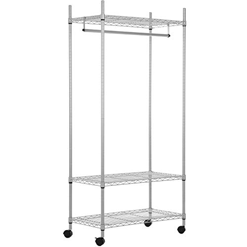 Deluxe Display Shelf - MyGift Deluxe Metal Rolling Adjustable Hanging Clothes Rack/Retail Garment Display Hang Rail w/ 3 Shelves