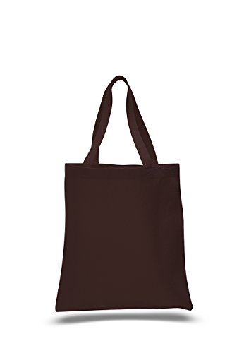 1 Dozen (Pack of 12) - Cotton Canvas Promotional Tote Bag (Chocolate)