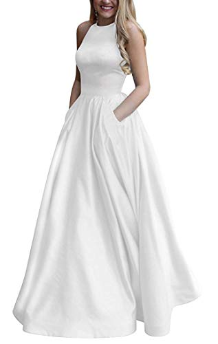 Women's Long Halter Satin Prom Dresses A Line Open Back Evening Gowns with Pockets White US6 ()