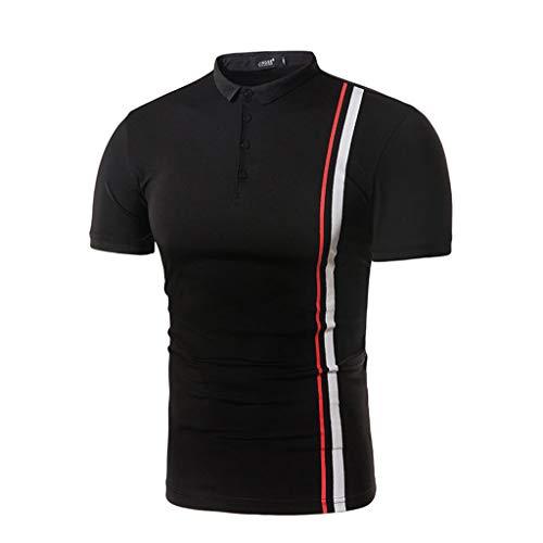 (Sunhusing Men's Spring Summer Casual Button-Down Stripe Print T-Shirt O-Neck Short Sleeve Top Blouse Black)