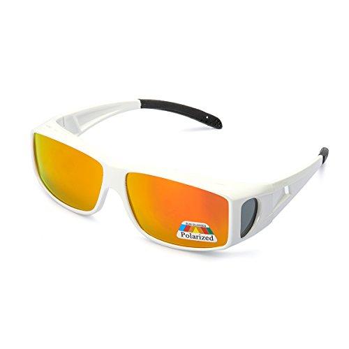 LVIOE Oversized Night Vision Glasses, Wrap Around Style, Fit Over Regular Prescription Glasses with Flip Up Polarized Lens ... (White Plastic Frame Orange Mirrored Lens)