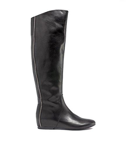 PoiLei Overknee-Stiefel Keil-Absatz Damen Lucia Leder Stiefel Overknees schwarz