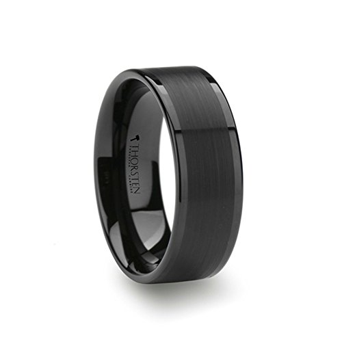 VULCAN Black Tungsten Thorsten Ring with Brushed Finish and Polished Edges 8mm Width from Roy Rose Jewelry