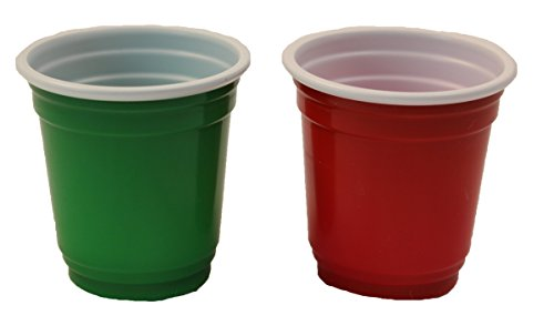 Mini 2 Oz. Plastic Drink, Shot, Pong, Tasting Cups (40Ct) (Red, Green)