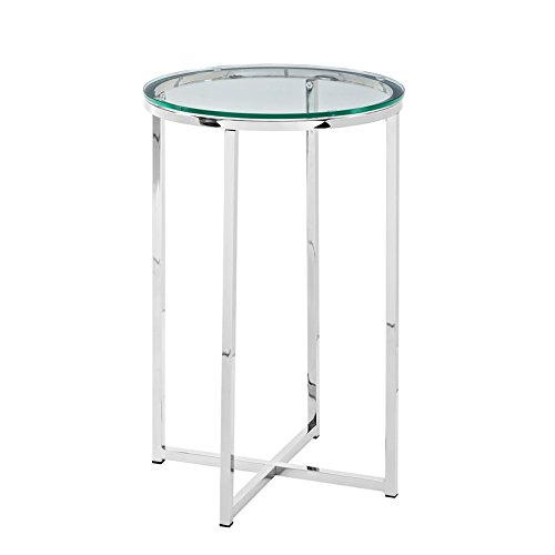 WE Furniture AZF16ALSTGCR Glass Side Table, (Chrome Table)