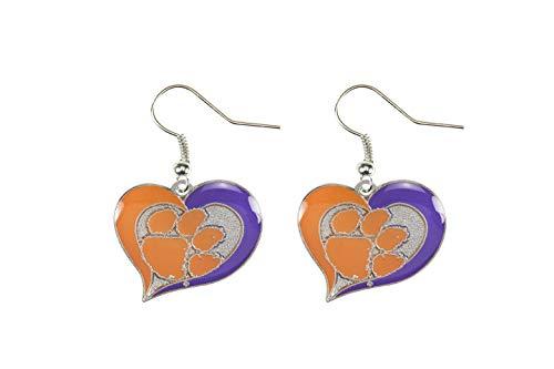 NCAA Clemson Tigers Swirl Heart Earrings