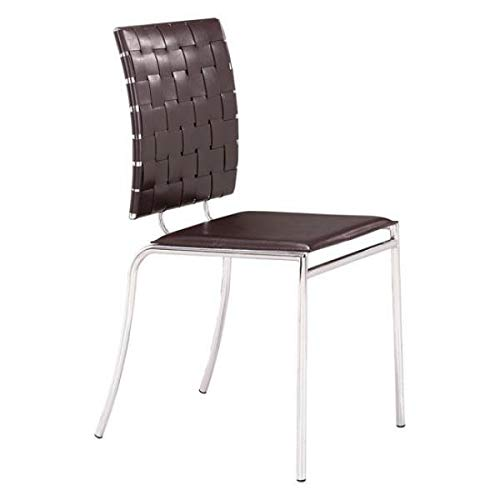 Modern Espresso Guest or Conference Chair witih Crisscross Back(Set of 4)